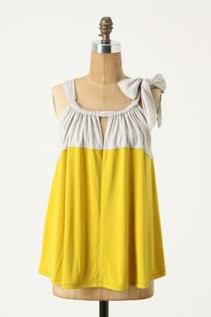 Getting Vogue With This Pastel Yellow White Anthropologie Tank Top