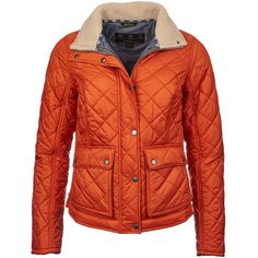 Women's Barbour Cushat Quilted Jacket - Burnt Orange (£150) ❤ liked on Polyvore featuring outerwear, jackets, sherpa fleece jacket, red quilted jacket, barbour, sherpa jacket and barbour jacket