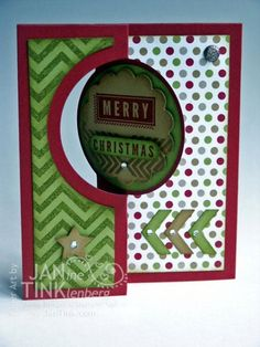 Stampin' Up! Banner Christmas Flip Card; Thinlits chevron punch