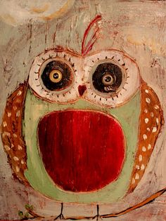 this funky junky...button-eyed  folkart owl