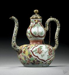 - * Unusual Porcelain & Cloisonne Double-Gourd Wine Ewer & Cover * - Tianqi Period - Ming Dynasty -