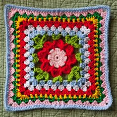 "Cheerful Blooming Granny I'm making this square for my ""Be of Good Cheer"" Samplerghan. :o) This was a fun square to crochet. :o) I deviated from the pattern a little bit, though. (I wanted to shorten my stitc..."