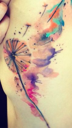 watercolor tattoo, dandelion