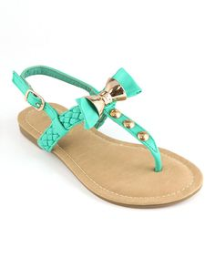 Love this Anna Shoes Teal & Gold Bow Sandal by Anna Shoes on #zulily! #zulilyfinds