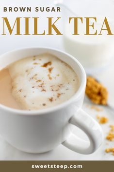 This brown sugar milk tea recipe is sweet and creamy and a delicious way to enjoy tea time. You can even top it off with steamed frothed milk and a dusting of brown sugar to make it a latte. One of my favorite ways to enjoy hot tea. Milk Tea Recipes, Coffee Recipes, Coffee Milk Tea Recipe, Tea Time Recipes, Black Tea Latte Recipe, Easy Drink Recipes, Iced Coffee, Milk Y Goku, Yummy Drinks