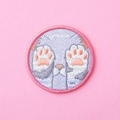 pastel kitten paws embroidered patch - lavender and pink
