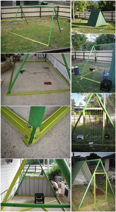 chicken house from swing set on pinterest | Diy Projects: Old Swing Set Into New Chicken Coop