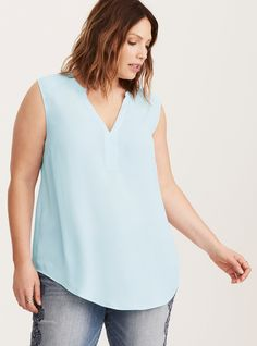 Plus Size Georgette Collarless Pullover Tank Top, CASHMERE BLUE