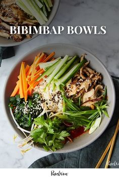 """Bibimbap (which translates to """"mixed rice"""") is a Korean rice dish piled high with toppings like sautéed vegetables, kimchi, gochujang and egg. Clean Eating Vegetarian, Vegetarian Recipes Dinner, Clean Eating Recipes, Clean Eating Snacks, Healthy Eating, Dinner Healthy, Vegetarian Food, Eating Habits, Vegetarian Sandwiches"""