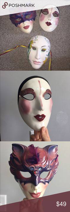Glass costume face masks bundle fancy faces Beautifully handmade set of three masks, willing to sell individually as well Vintage Accessories
