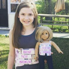 "Higgy Bear is so happy that Lyndi loves her new doll brace! This sweet note from her mom says it all! Higgy Bear & Higgy's Friends truly do make a difference! <3  Each brace is handmade by a scoliosis patient, for YOUR scoliosis patient. Get yours today at www.higgybears.etsy.com :) ""My mom recently ordered a back brace for my daughter for her American Girl doll. Yesterday, she gave it to Lyndi. Last night, when it came time to put her brace on, ""Kit"" had to put hers on as well. The smile…"