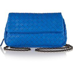 Bottega Veneta Intrecciato leather shoulder bag ($1,230) ❤ liked on Polyvore featuring bags, handbags, shoulder bags, blue, genuine leather handbags, leather crossbody, leather crossbody purse, blue purse and leather crossbody handbags