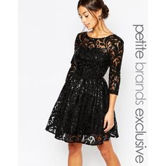 Chi Chi London Petite Sequin Embellished Plunge Back Prom Dress ($98) ❤ liked on Polyvore featuring dresses, black, prom dresses, black prom dresses, black mesh dress, sequin dress and black cocktail dresses