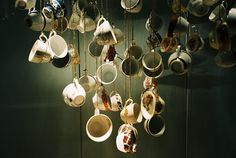 Hanging tea cups.