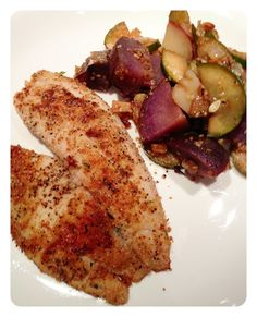 HERB CRUSTED TILAPIA with purple potatoes | sally cooks