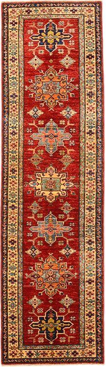 2' 8 x 9' 4 Red Geometric Kazak Oriental Rugs