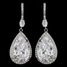 Teardrop CZ Rhodium Plated Wedding Earrings - Affordable Elegance Bridal -