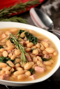 Tuscan White Bean Soup with Ham #SundaySupper