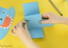 Shark Paper Hand Puppet - Easy Peasy and Fun Toddler Crafts, Crafts For Kids, Shark Puppet, Underwater Art, Make Your Own, How To Make, Hand Puppets, Shark Week, Baby Shark