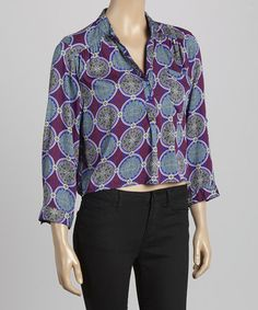 Loving this Purple Cropped Button-Up Top on #zulily! #zulilyfinds
