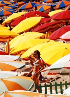 size: Photographic Print: Europe Beach Scene Crowded with Colorful Umbrellas and a Bikini-Clad Young Woman by Ralph Crane : Artists Surf Mode, Beach Blanket Bingo, Europe Beaches, Colorful Umbrellas, Slim Aarons, Bikini Clad, Close Up Portraits, Beach Aesthetic, Beach Umbrella