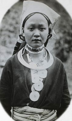 Vietnam | Portrait of a young Man Tien woman.  Tonkin, Bac Kan province, Babé lakes.  ca. 1920s || Photographer unknown