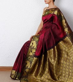 Maroon Floral Silk Saree by Pothys