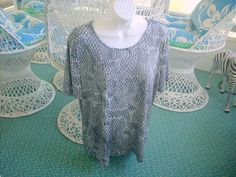JACLYN SMITH X-Large top scoop neck liquid like-fabric Black & Grey  #JaclynSmith #Blouse #Casual