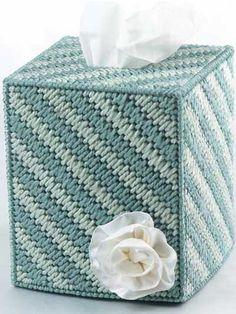 Plastic Canvas - Tissue Topper - Mosaic Stitch Tissue Box Cover