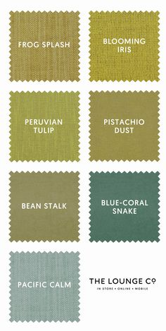Ones to Swatch | At The Lounge Co. you'll find a stunning selection of green and yellow fabrics in tweed, velvet, chenille, linen and cotton. Order up to 8 free swatches now. Frog Splash, Blooming Iris, Peruvian Tulip, Pistachio Dust, Bean Stalk, Blue-Coral Snake, Pacific Calm. #theloungeco #swatch #swatches #fabric #green #yellow #sofa #chair #upholstery