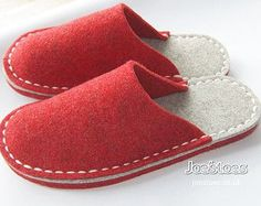 Felt Slippers – Simple Eco Friendly Wool – Many sizes and colours by Joe's Toes – ships worldwide My simple eco friendly slippers are completely hand-sewn in Yorkshire, England. Using woollen felt and strong merino yarn. I offer many variations on Red Slippers, Sewing Slippers, Felted Slippers Pattern, Felt Shoes, Shoe Pattern, Red Felt, How To Make Shoes, Felt Crafts, Hand Stitching