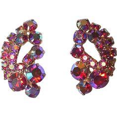 Large Red Aurora Rhinestones Clip on Earrings