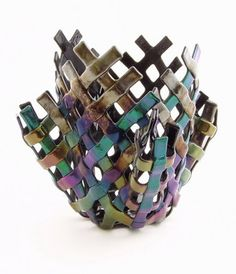 Fused Glass Woven Basket