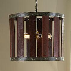 One Third Wine Barrel Hanging Light - Wine Enthusiast Wine Barrel Table, Wine Barrel Furniture, Barrel Chair, Wine Barrels, Barrel Projects, Wine Signs, Wine Decor, Bourbon Barrel, Lamp Design