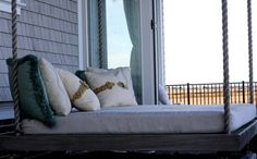 Hanging bed for sleeping porch