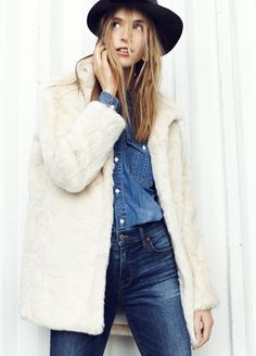 "madewell stagedoor faux-fur coat worn with the drop-hem denim shirt, 9"" high riser skinny skinny jeans + madewell & biltmore® straight-brim felt fedora.   #everdaymadewell  #denimmadewell"