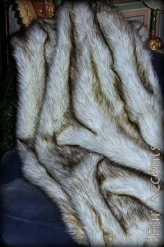 "Gorgeous Russian Wolf Faux Fur Throw  / Comforter / Blanket / Black Tip Fur With Ultra Suede Back / 70"" / New on Etsy, $189.95"
