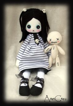 #Goth cloth doll Monday cloth doll with skulls and #voodoo doll friend #handmade goth rag doll. Goth cloth doll - pinned by pin4etsy.com