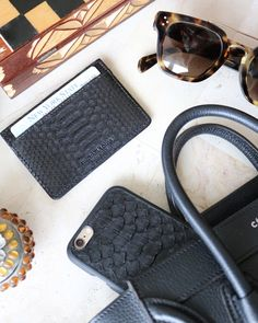 Essentials with #MichaelLouis case style #iPhone6Case and card holder style #ClassicCardHolder shown in black python grade 1 leather with blind debossed signature logo. - www.MichaelLouis.com -