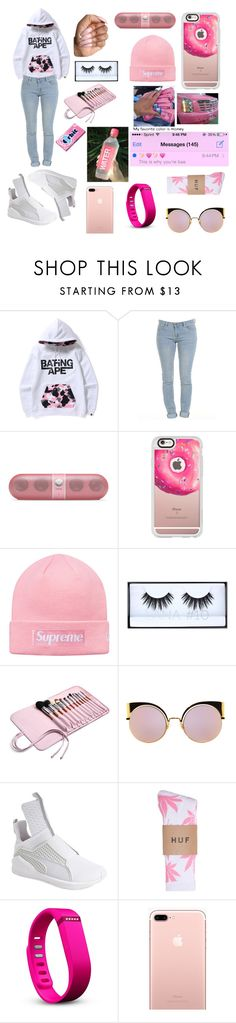 """•Mrs.Bape•"" by trendsetterkiki ❤ liked on Polyvore featuring Casetify, Huda Beauty, Fendi, Puma, HUF and Fitbit"