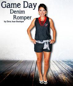 Houston Texans Game Day Romper - Women's Stretch Denim NFL Shorts on Etsy, $65.00