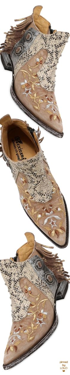 MEXICANA 30MM EMBROIDERED & FRINGED LEATHER BOOTS