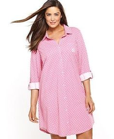 Lauren Ralph Lauren Plus Size Roll Cuff Sleepshirt Curvy Outfits, Unique Outfits, Curvy Girl Fashion, Plus Size Fashion, Pajama Day, Cute Pjs, Plus Size Pajamas, Lil Black Dress, Dress With Cardigan
