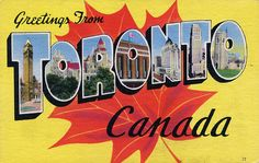 Greetings from Toronto, Canada Art Print Travel Ads, Travel Posters, Photo Postcards, Vintage Postcards, Vintage Ads, Toronto Ontario Canada, Large Letters, Cool Posters, Giclee Print