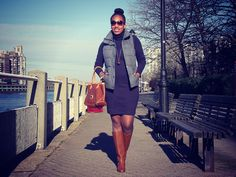{Old Navy  Frost-Free Vest, American Apparel Solid Rib Turtleneck Dress,  Dooney & Bourke Handbag, J. Crew Booker Boots, Fendi Sunglasses, H Necklace, Forever 21 Bangles,  Michael Kors Watch}