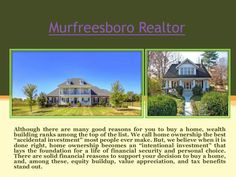 Opportunities for Murfreesboro Real Estate investment is wide and varied. Most real estate is bought and sold today and outlines smart strategies for buying or selling real estate using various resources as well as the expertise of a realtor. Check this link right here http://www.talktodale.com/ for more information on Murfreesboro Real Estate.