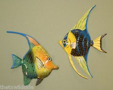 "(2)set,6 "",TROPICAL, ANGEL FISH, WALL PLAQUES, BEACH DECOR,SEA,OCEAN LIFE MURAL"