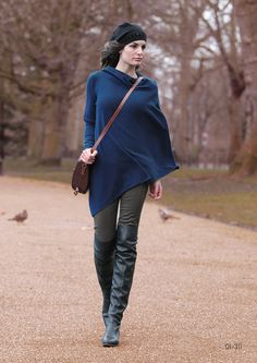0a4035f897fbbf Items similar to pure cashmere stylish One sleeve poncho cape tunic wrap  dress jumper sweater knitwear knit drapey high quality blue RRP bespoke on  Etsy