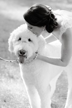 A happy kiss for an important furry friend | @Vanessa Joy Baldos RobAdams #wedding #pets