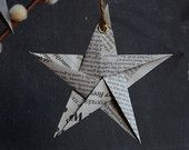 Recycled Newspaper Christmas Hanging Star Decorations (size: Small. Pack of 5)